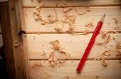 stock photo of carpenter  - carpenter tools in pine wood table close up - JPG