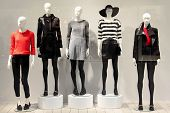 stock photo of mannequin  - Five mannequins in a clothing store dressed in a fall style - JPG