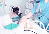stock photo of icu  - endoscopic reception at the hospital. Work with medical equipment.
