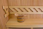 stock photo of sauna  - Wood accessory in the Sauna  - JPG