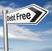 image of debt free  - debt free zone or tax reduction today relief of taxes having good credit financial success paying debts for financial freedom road sign arrow  - JPG
