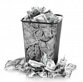 pic of dustbin  - Money in dustbin isolated on white - JPG