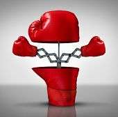 stock photo of competing  - Business advantage and innovation strategy concept as an open boxing glove with two more fighting symbols emerging as an icon of covering your bases and extending youre reach to compete successfully - JPG