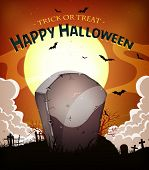 stock photo of spooky  - Illustration of a cartoon halloween holidays spooky horror background with tombstone inside graveyard fog full moon and bats - JPG