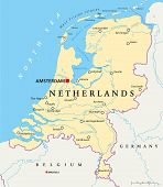 stock photo of political map  - Netherlands Political Map with capital Amsterdam - JPG