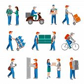 image of postman  - Delivery person freight logistic business industry icons flat set isolated vector illustration - JPG