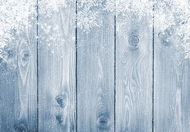 stock photo of sign-boards  - Blue wood texture with snow christmas background - JPG