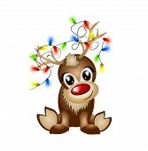 image of antlers  - Cute reindeer with light chain entangled in the antlers - JPG