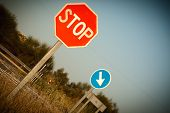 pic of crossroads  - stop sign and obligation crossroads rural setting - JPG