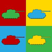 picture of panzer  - Pop art panzer simbol icons - JPG