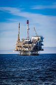 stock photo of rig  - Oil Rig in the channel island near Ventura California.