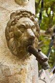 picture of metal sculpture  - Bronze metal lion head spout in an antique public fountain in Gigondas vaucluse France - JPG