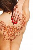 stock photo of mehendi  - naked back of young girl with henna mehendi on white backround - JPG