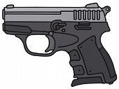 picture of handgun  - Hand drawing of a small handgun  - JPG