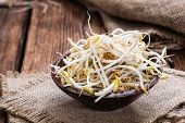 pic of soybean sprouts  - Bowl with Mungbean Sprouts on wooden background - JPG