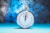 image of stopwatch  - Photo Of Stopwatch On Blue Bokeh Background - JPG