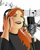 picture of recording studio  - a girl singing in a recording studio - JPG
