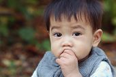 pic of snot  - Asian boy was sick and runny nose close up - JPG