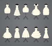 stock photo of dress mannequin  - Wedding dresses in different styles - JPG