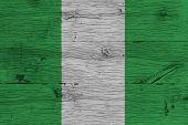 picture of nigeria  - Nigeria national flag painted on old oak wood - JPG