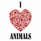 picture of paw  - Illustration paw prints and heart as a symbol of love for animals - JPG