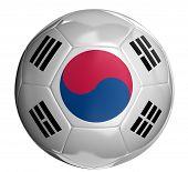 stock photo of korean  - Soccer ball  with South Korean flag - JPG