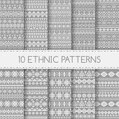 stock photo of pattern  - Set of ethnic seamless patterns - JPG