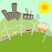 picture of solar battery  - Urban landscape with windmills and solar battery - JPG