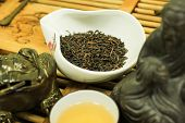 pic of brew  - Quality dried Chinese tea leaves with freshly brewed drink - JPG
