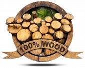 foto of 100 percent  - Wooden icon with trunks of trees cut and green forest wooden ribbon and text 100 - JPG