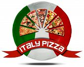 stock photo of italian flag  - Icon or symbol with slices of pizza on a plate with Italian flag and red ribbon with text italy pizza - JPG