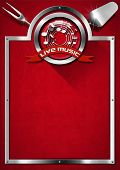 stock photo of musical symbol  - Red velvet background with kitchen utensils metal frame and symbol of live music - JPG