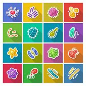 image of syphilis  - Germs and Bacteria Flat Icons Set for Medical Design - JPG
