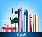 stock photo of kuwait  - Colorful City of Kuwait Famous Buildings - JPG