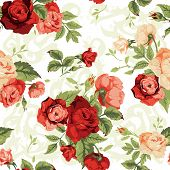 stock photo of white roses  - Seamless floral pattern with red and orange roses on white background - JPG