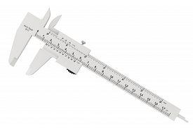 stock photo of vernier-caliper  - Metal vernier caliper on a white background - JPG
