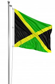 foto of jamaican flag  - 3D Jamaican flag with fabric surface texture - JPG