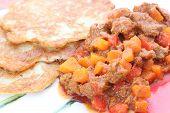 foto of hungarian  - Traditional hungarian potato pancake with goulash healthy food  - JPG