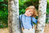 picture of suspenders  - Close up portrait of adorable little blond boy - JPG