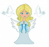 picture of little angel  - sweet little girl angel and two doves  - JPG