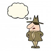 picture of crazy hat  - cartoon man in coat and hat with thought bubble - JPG