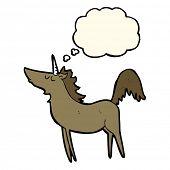 pic of unicorn  - cartoon unicorn with thought bubble - JPG