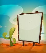 picture of cactus  - Illustration of a vintage cartoon mexican desert landscape in the sunrise in summer season with cactus plant and blank white paper on a country wood sign for travel advertisement message or holidays vacations - JPG
