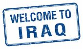 pic of iraq  - welcome to Iraq blue grunge square stamp - JPG
