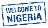 stock photo of nigeria  - welcome to Nigeria blue grunge square stamp - JPG