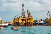 image of offshore  - oil offshore platform in repair - JPG