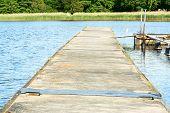 foto of slab  - Floating bridge in water - JPG