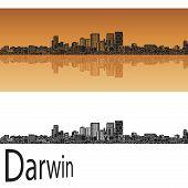 stock photo of darwin  - Darwin skyline in orange background in editable vector file - JPG