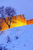 picture of serbia  - Winter landscape of Belgrade fortress and Kalemegdan park at night with snow Belgrade Serbia - JPG