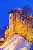 stock photo of serbia  - Winter landscape of Belgrade fortress and Kalemegdan park at night with snow Belgrade Serbia - JPG